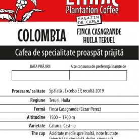 Colombia Finca CASAGRANDE SINGLE ESTATE TERUEL HUILA cafea de specialitate proaspat prajita Arabica