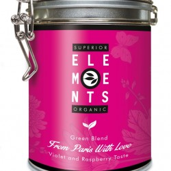 FROM PARIS WITH LOVE - TEA ORGANIC GREEN BLEND HANDMADE - Violet Raspberry Taste cutie metalica