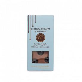 Tabletă Artizanala de Ciocolată cu Lapte şi Cireşe Amărui 100g