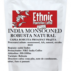 India Monsooned AA Robusta natural cafea proaspat prajita, 100g plic