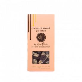 Tabletă Artizanala de Ciocolată Neagră cu Ghimbir 100g