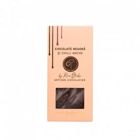 Tabletă Artizanala de Ciocolată Neagră cu Chilli Ancho 100g