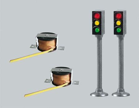 FALLER 162056 2 LED-STOPLICHTEN MET STOPPLAATS