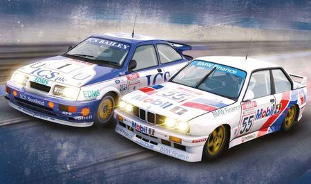 SCALEXTRIC 3693A T.C.L. TWIN PACK FORD SIERRA RS500 & BMW E30 L.D.