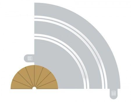 SCALEXTRIC 8279 RADIUS 1 CURVE INNER BORDERS 180° X 2
