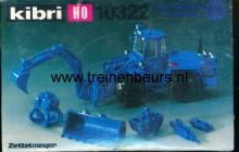 KIBRI 10322 U Tractor met diverse gereedschappen (bagger, schep, schuif ed)