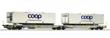 Roco 67385 DSB Draagwagin Set van 2 COOP containers NIEUW uitloop