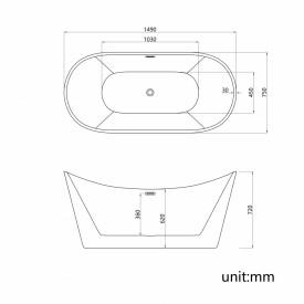 Cada acril freestanding ovala JUNO 150x72 cm