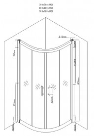 Cabina de dus semirotunda Round 80x80cm, sticla securizata, profil crom