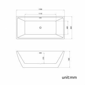 Cada acril freestanding dreapta CALYPSO 170x80cm