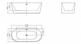 Cada acril freestanding ovala JASMINE 170x75 cm