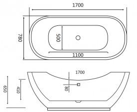 Cada acril freestanding ovala VESTA 170x78 cm