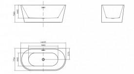 Cada acril freestanding ovala JASMINE 150x75 cm
