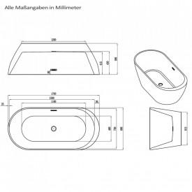 Cada acril freestanding ovala DIANA 170x80 cm