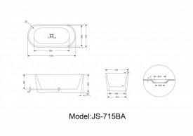 Cada acril freestanding ovala MINERVA 150x75 cm