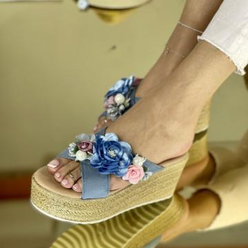 Papuci Flora Albastri