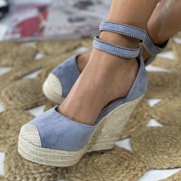 Sandale cu Platforma Leona Albastre