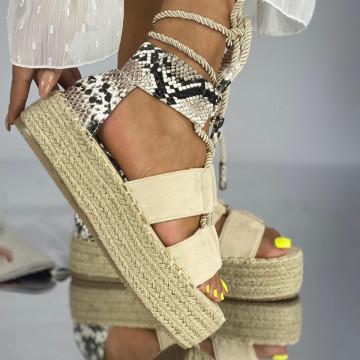 Sandale cu Platforma Sibel Bej Snake