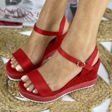 Sandale cu Platforma Teodora Rosii