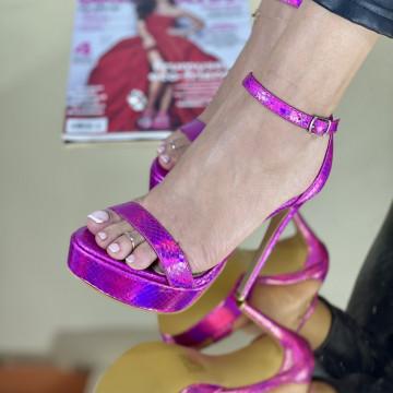Sandale Cu Toc Boa Fuchsia