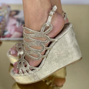 Sandale Cu Platforma Klover Aurii