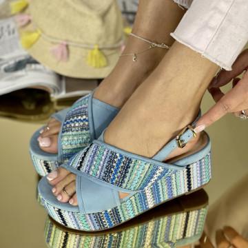 Sandale cu platforma Suni Albastre