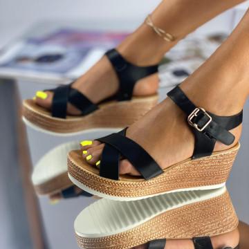 Sandale cu Platforma Tomera Negre