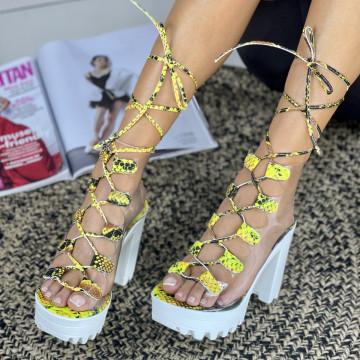 Sandale Cu Toc Armina Galbene