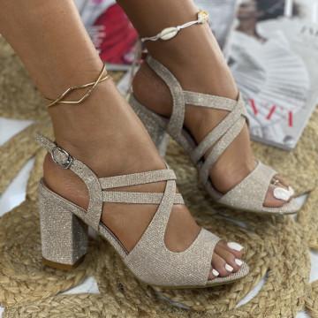 Sandale cu Toc Dalida Aurii