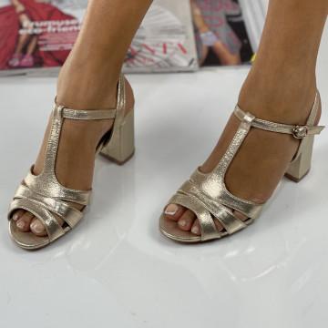 Sandale cu Toc Lina Aurii