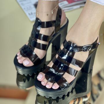 Sandale Cu Toc Miana Negre