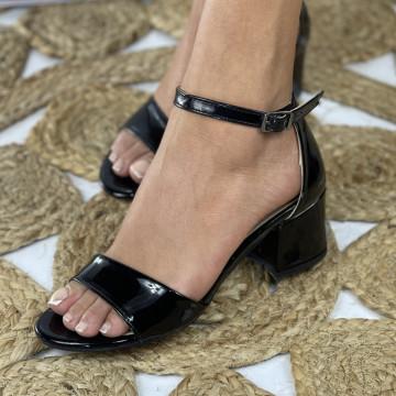 Sandale cu toc Mora Negre Lac