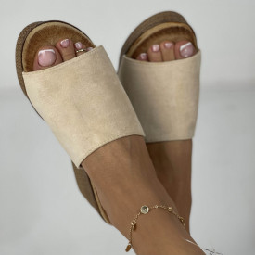 Papuci cu Platforma Meda Bej