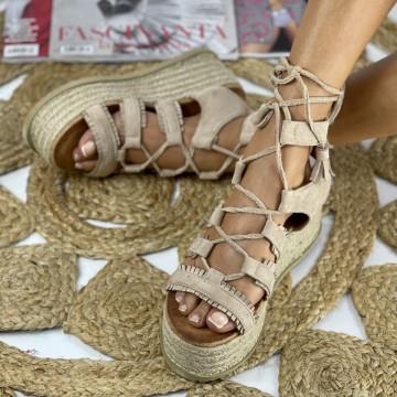 Sandale cu Platforma Aura Khaki