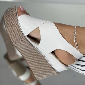 Sandale Cu Platforma Kabir Albe