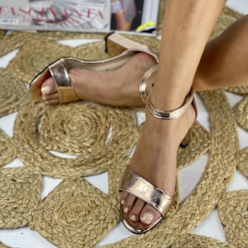 Sandale cu toc Ada Aurii
