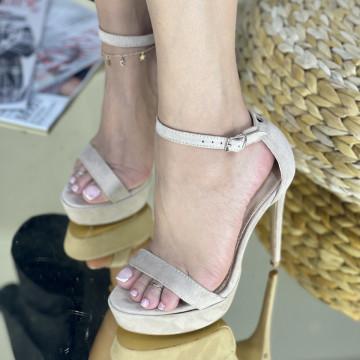 Sandale Cu Toc Amaris Bej