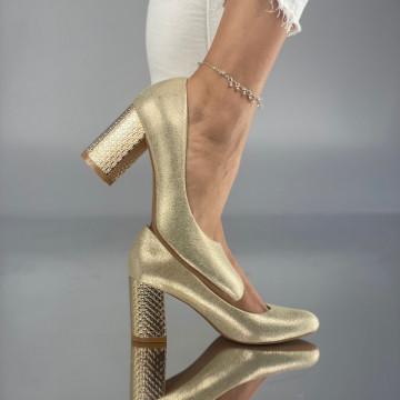 Pantofi cu toc Simoneta Aurii