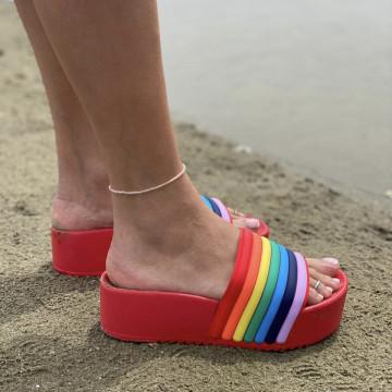 Papuci Crema Rosii