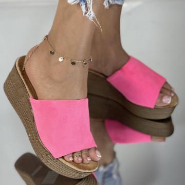 Papuci cu Platforma Meda Fuchsia