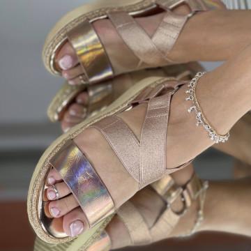 Sandale Cu platforma Alexos Champagne