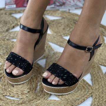 Sandale cu Platforma Freda Negre