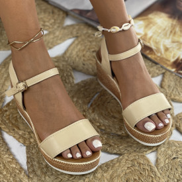 Sandale cu Platforma Makra Bej