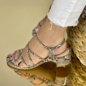 Sandale Cu Toc Lauser Bej