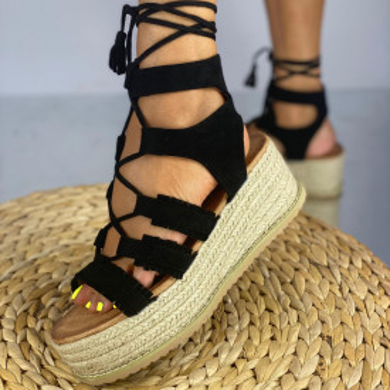 Sandale cu Platforma Aura Negre
