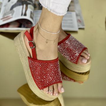 Sandale cu platforma Donetta Rosii