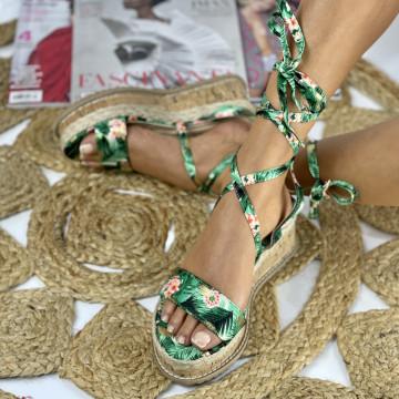 Sandale cu Platforma Flamora Verzi