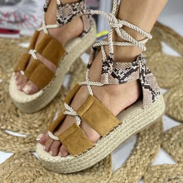Sandale cu Platforma Sibel Camel snake