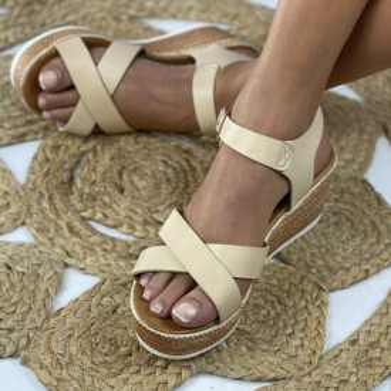 Sandale cu Platforma Tomera Bej