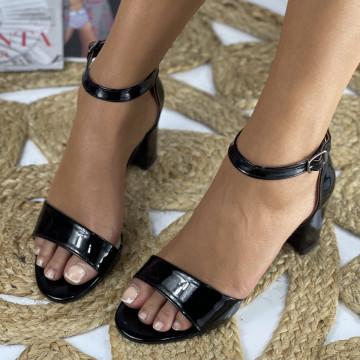 Sandale cu toc Ada Negre Lac